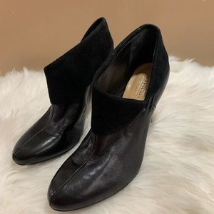 Coach Annika Black Leather + Suede Ankle Boots 6.5